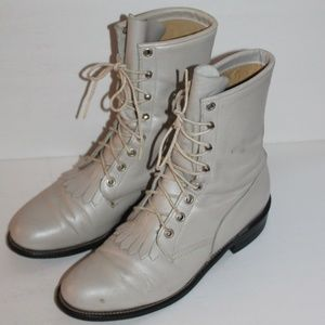 Vintage Justin's Leather Roper Lace Up Boots 7.5 C